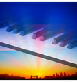 abstract sunrise background with silhouette of vector image