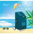 trolley suitcase with a sun hat vector image