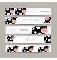 Set of banners with funny cow vector image