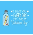 Valentines day greeting card with lettering vector image