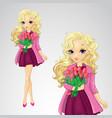 Blonde Girl Hold Spring Flowers vector image