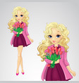 Blonde Girl Hold Spring Flowers vector image