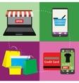 Business concept set of online shopping internet vector image