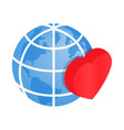 Heart of globe 3d isometric icon vector image