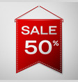 red pennant with inscription sale fifty percent vector image