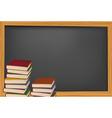 school books and blackboard vector image