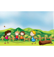 Kids playing jumping rope at the bridge vector image