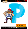 letter p with pirate cartoon vector image vector image