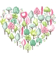 Heart made of blossoming spring trees vector image vector image