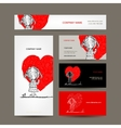 Business cards design Girl draws red heart vector image