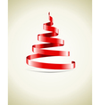 Christmas tree from red ribbon vector image