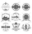 Fishing Club Black White Emblems Set vector image