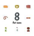 flat icon food set of bratwurst packet beverage vector image