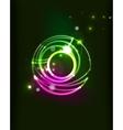 Glowing circle in dark space vector image