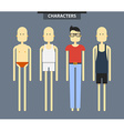 Set of characters in different clothes flat style vector image