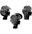 set of hairstyles stencil vector image