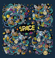 doodles cartoon set of space designs vector image