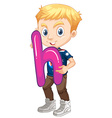 Little boy holding letter H vector image