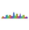 Cleveland skyline silhouette - multicolor line art vector image