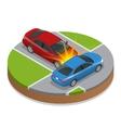 Car accident Car crash Flat 3d isometric vector image vector image