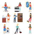 housewife in housework activity set homemaker vector image