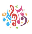 music notes color abstract musical background vector image