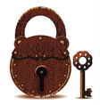 rusty padlock and key vector image