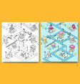 seamless pattern with isometric buildings vector image