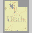 utah accurate high detailed state map vector image