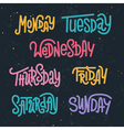 Colorful custom lettering of the days of the week vector image