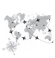 World map with airplanes vector image