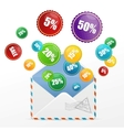 detailed envelope and sale labels vector image vector image