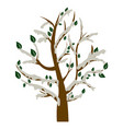 silhouette tree with green leaves and grey vector image