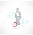 Ban man grunge icon vector image vector image