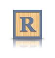 letter R wooden alphabet block vector image
