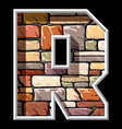 stone letter R vector image