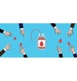 blood donation concept people team give theirs on vector image