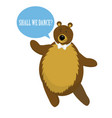 cartoon bear dance for invitation or card vector image
