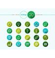 Green Ecology flat icons set vector image