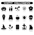 Halloween icons with reflection vector image