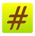 Hashtag sign brown icon at vector image