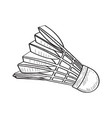 isolated retro badminton shuttlecock vector image