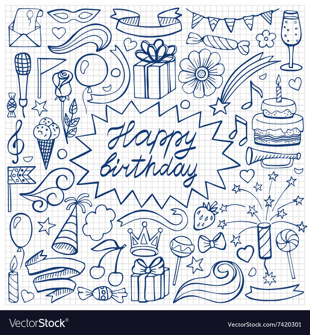 Happy birthday hand drawn set on squared paper vector