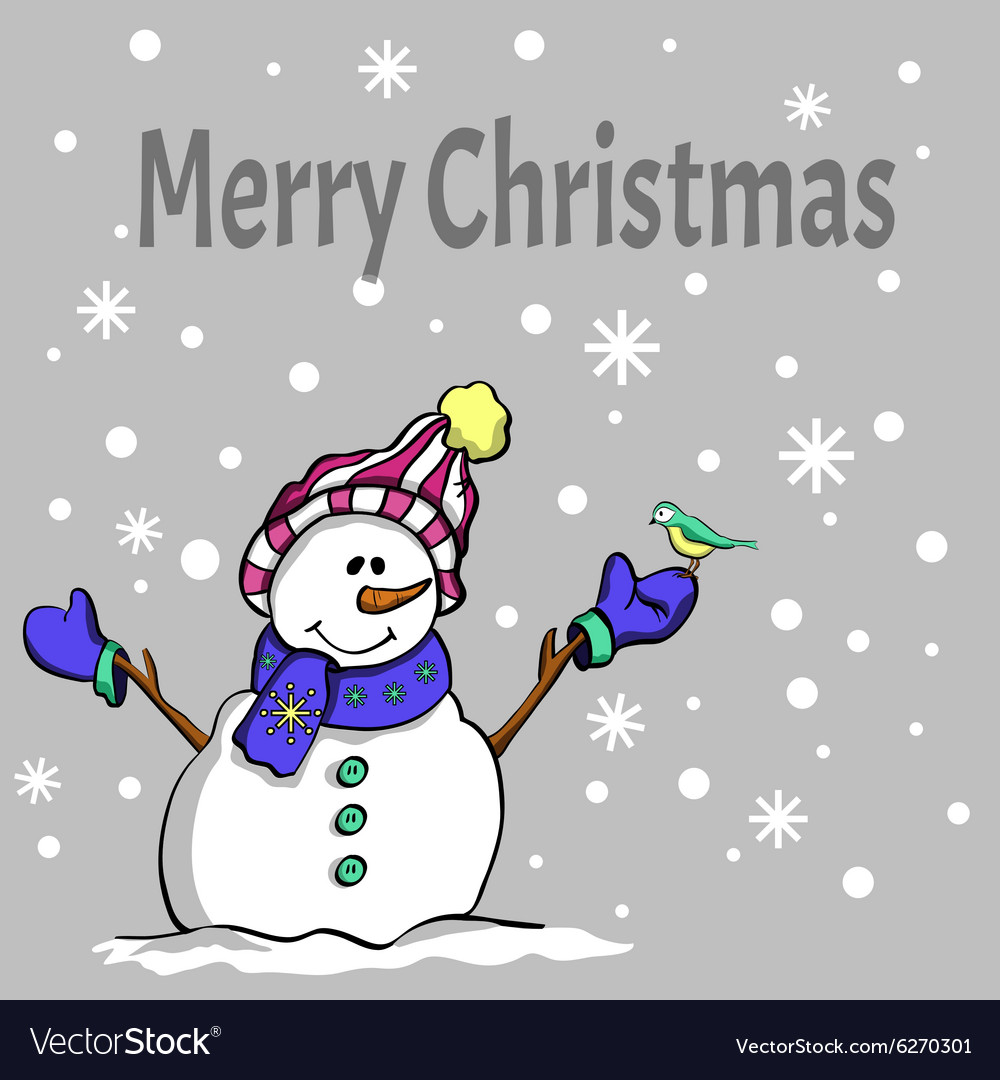 Happy christmas snowman vector