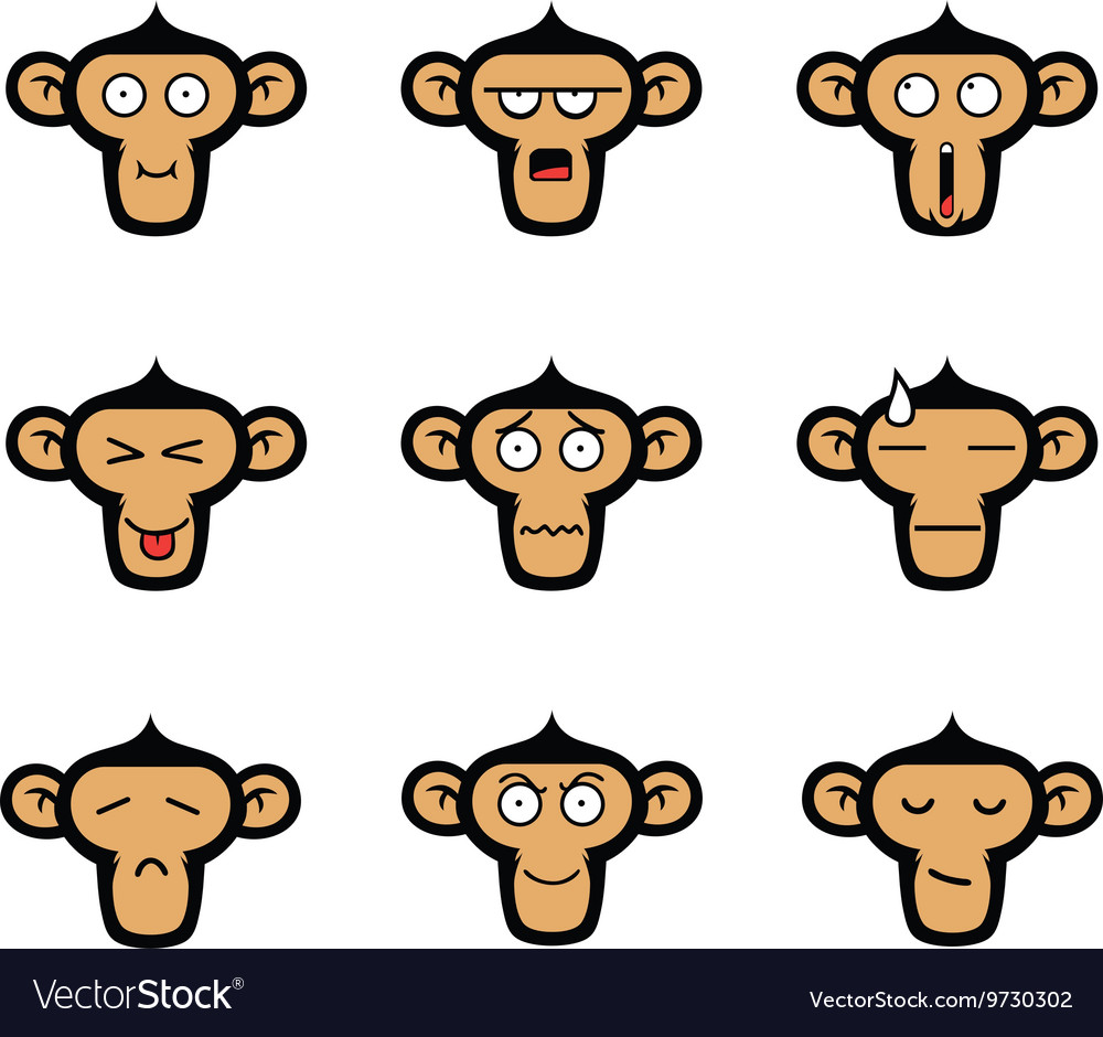 Monkey face expressions set vector