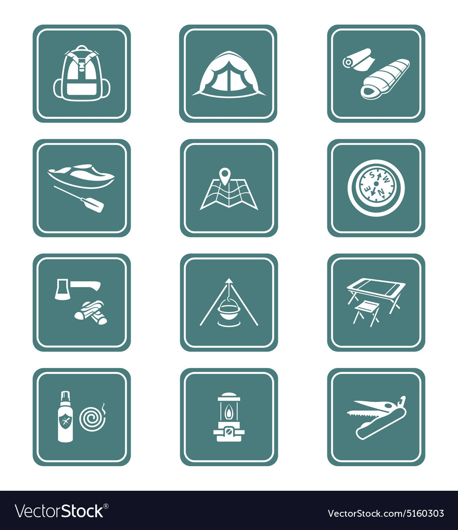 Camping set  teal series vector