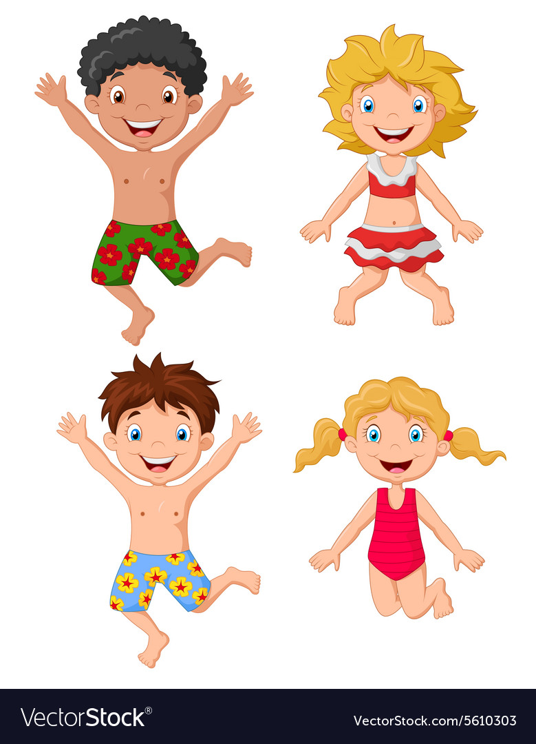 Happy kids wearing swimsuit jumping vector