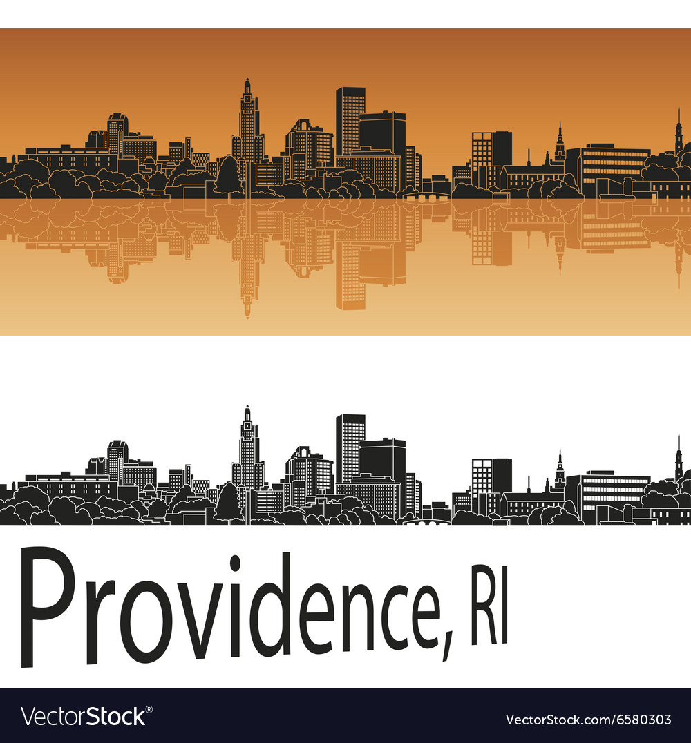 Providence skyline in orange vector