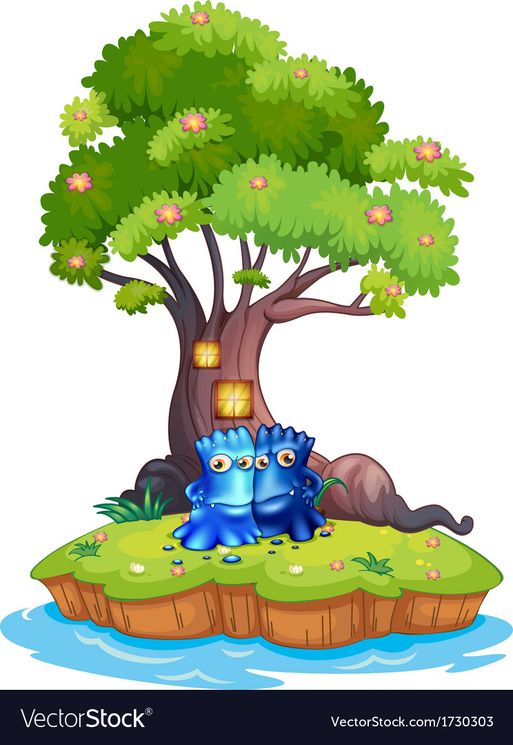 Two monsters near the tree house in the island vector