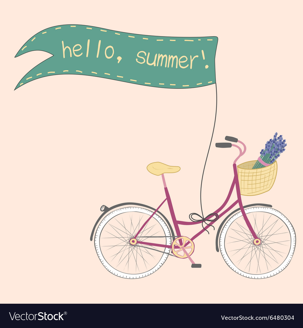 Beautiful poster with cute hand drawn city bike vector